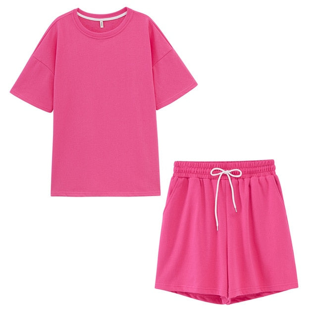summer tracksuits womens two peices set leisure outfits cotton oversized t-shirts high waist shorts candy color clothing