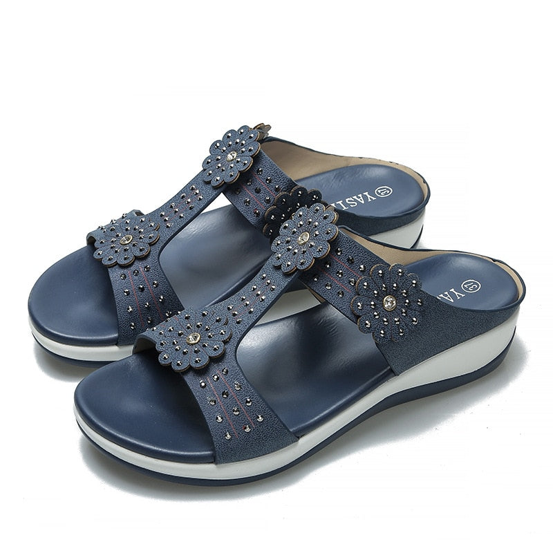 Summer Women Casual Flat Beach Slipper Flip Flop Sandals Shoes Woman Bohemia Rhinestone Ethnic Female Wedge Sandals