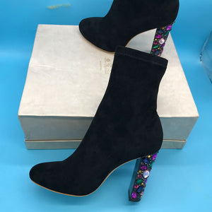Faux Suede Women High Heel Boots Crystal Heel Design Mid Cut Ankle Boots Colourful Diamond Heel
