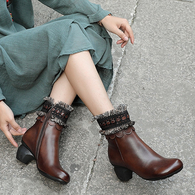 original genuine leather women's boots first layer of leather  autumn and winter new high-heeled mi - LiveTrendsX