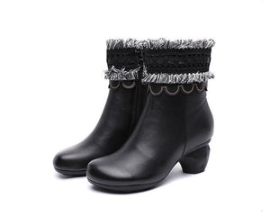 original genuine leather women's boots first layer of leather  autumn and winter new high-heeled mi