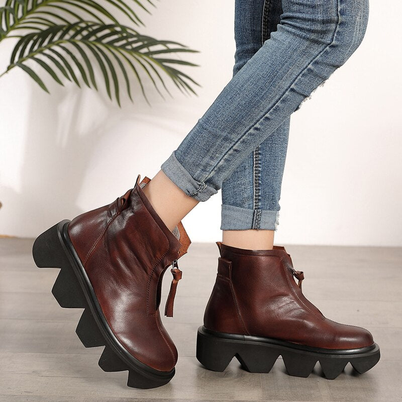 top quality leather women's boots  autumn and winter new thick-bottomed round head boots cowhide Martin boots