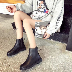style winter boots women  fashion soft genuine leather women boots after individual character bind band adornment - LiveTrendsX