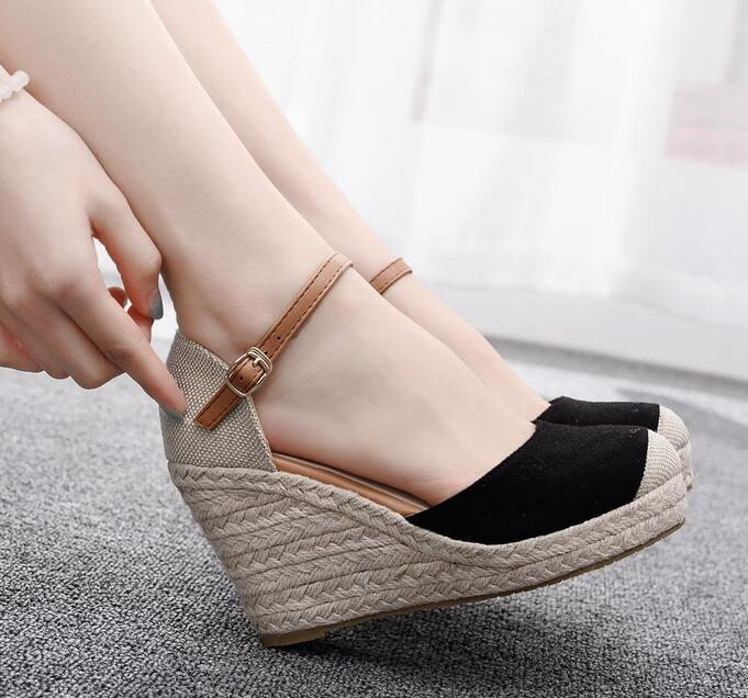 hot sale fashion platform sandals women simple buckle summer shoes elegant comfortable wedges shoes - LiveTrendsX