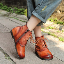 Load image into Gallery viewer, Original retro women's boots leather soft bottom lace-up flat boots hand-washed round head printed leather short boots - LiveTrendsX