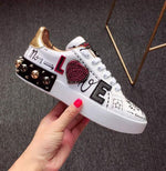 designer shoes china trainers flats stud embroidered sneakers rivet real leather women white metal italian embroidery crystal - LiveTrendsX