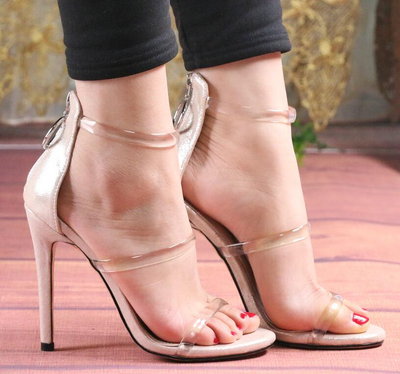 Wedding Shoes Women Sandals Thin High Heel Peep Toe Zipper Pu Leather Women Shoes Sexy Ladies Sandals - LiveTrendsX