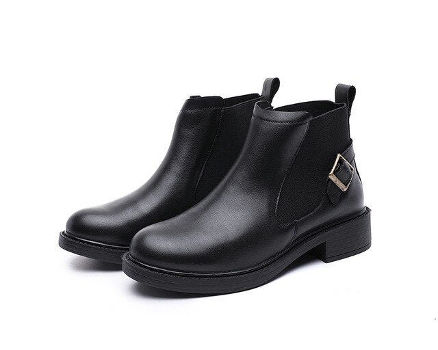 Booties female  autumn and winter new leather women's boots short boots thick bottom comfortable cotton boots - LiveTrendsX