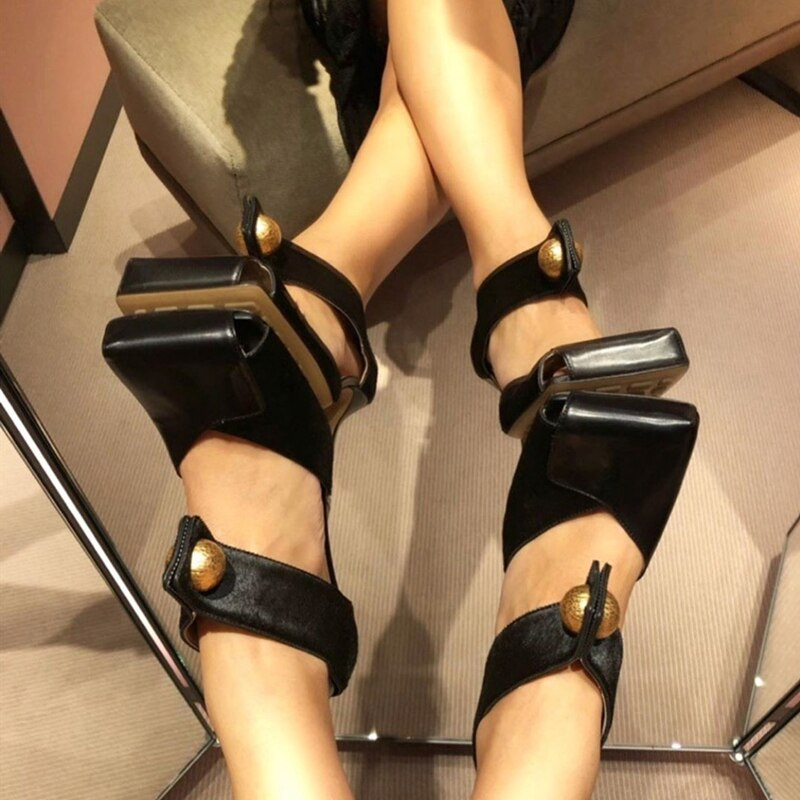Stylish Square Toe Sandals Metal Buckle Patchwork Genuine Leather Hollow Summer Spring Shoes Stiletto High Heel Top Quality