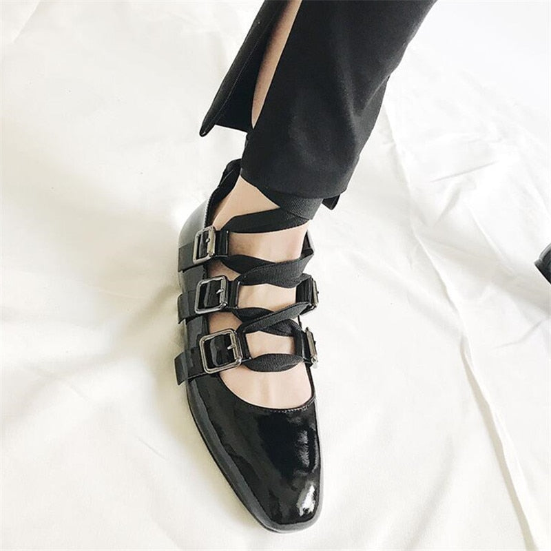Women Punk Shallow Women Shoes Black Leather Cross-tied Women Flats Square Toe Strappy Belt Buckle Women Shoes - LiveTrendsX