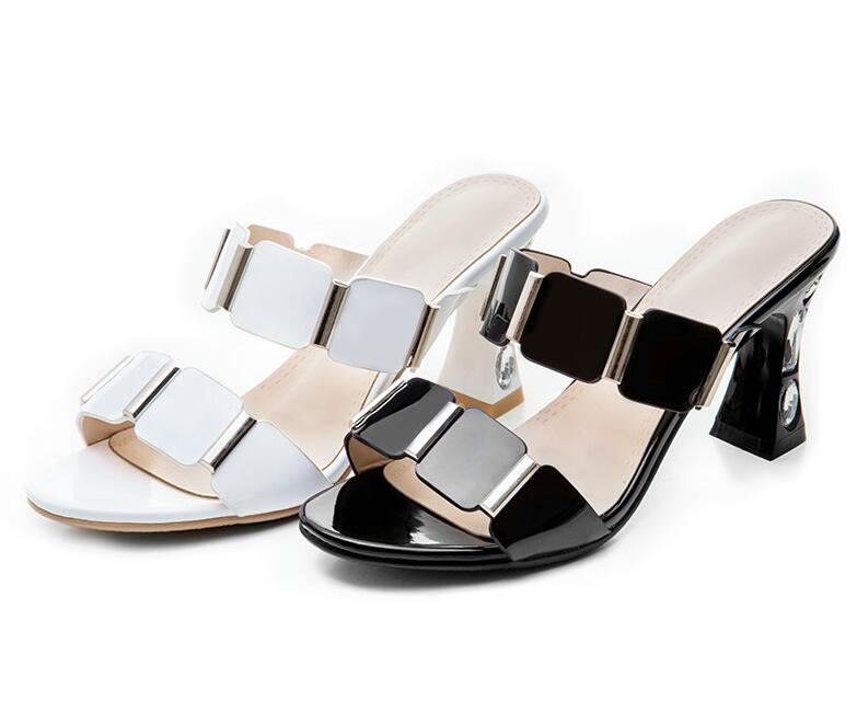 Ladies Sandals Round Open-toed PU Leather Rhinestone Square High Heel Slingback Anti-skid Party Women Pumps