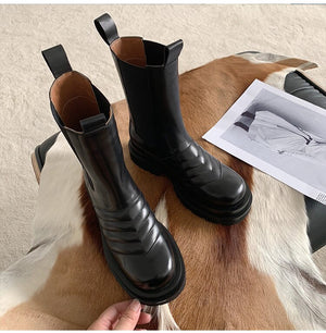 New Arrival Elastic Band Leather Boots Round Toe Flat Chunky Sole Knight Boots Winter Brand Shoes Women Chelsea Boots