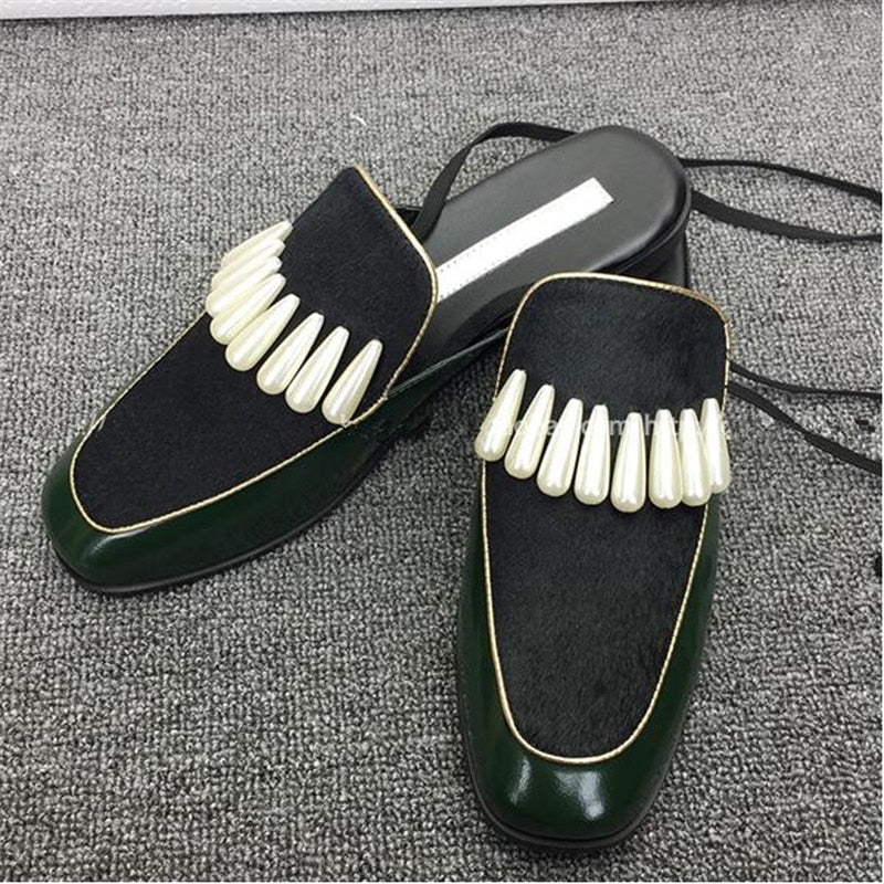 Leather Horsehair Pactkwork Ankle Strappy Sexy Women Sandals Pearl Flat Lace Up Mules Slip-On Women Slipper Shoes