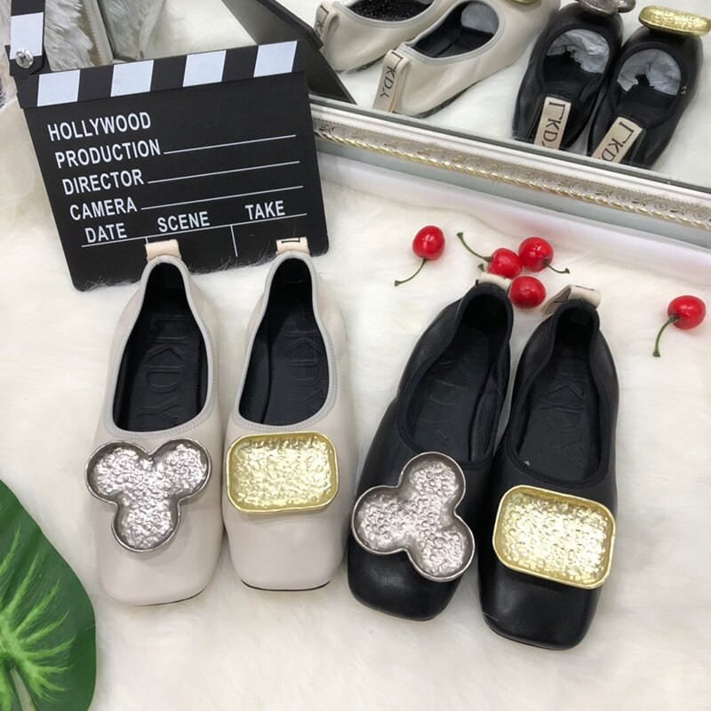 women top Genuine Leather leg ballet flat shoes metal letter decoration full sheepskin casual pregnant lazy shoes
