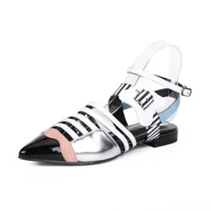 Leather Mixed Color Women Gladiator Sandals Pointed Toe Cut-Outs Buckle Flats Sandals Ladies Party Shoes Woman