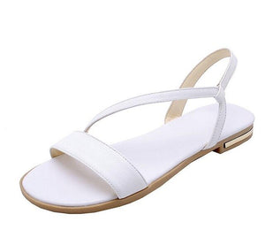 Women Sandals Flat Heel Champagne Cow Leather+PU Round Open-toed Soft-soled Anti-skid Shoes Summer