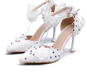 New White Lace fashion shoes For woman Flower Wedding shoes Bride High shoes Ladies Party dress shoe