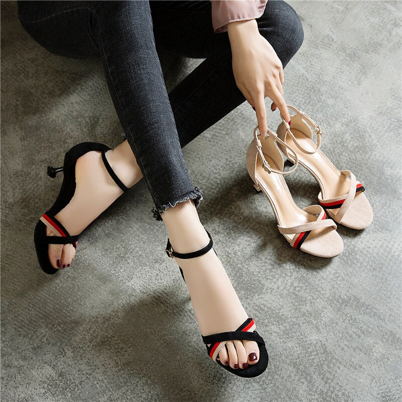 female summer fairy wind new small with a girl 3cm low heel stiletto  buckle cat with high heel sandals - LiveTrendsX