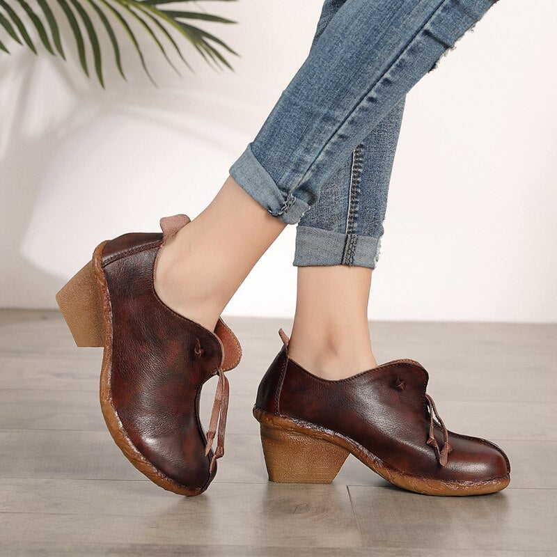 original autumn new single top layer leather comfortable high heel ankle boots retro personality deep women