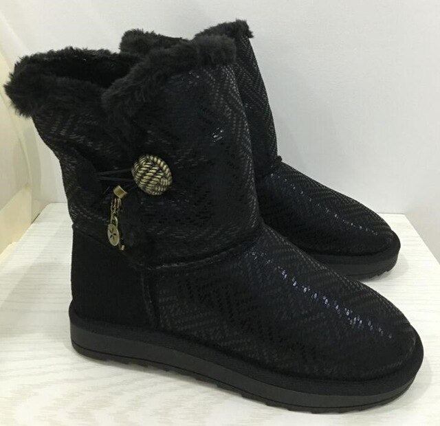 Winter Snow Boots Flats Fur shoes Black Botas Femininas Women Shoes - LiveTrendsX
