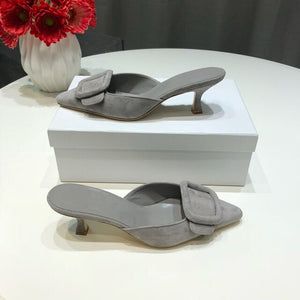 Spring/Summer Faux Suede Women Sandals Shoes Mid Thin Heel Genuine Leather Sole Women Shoes Mature Slingbacks Wedding Shoes