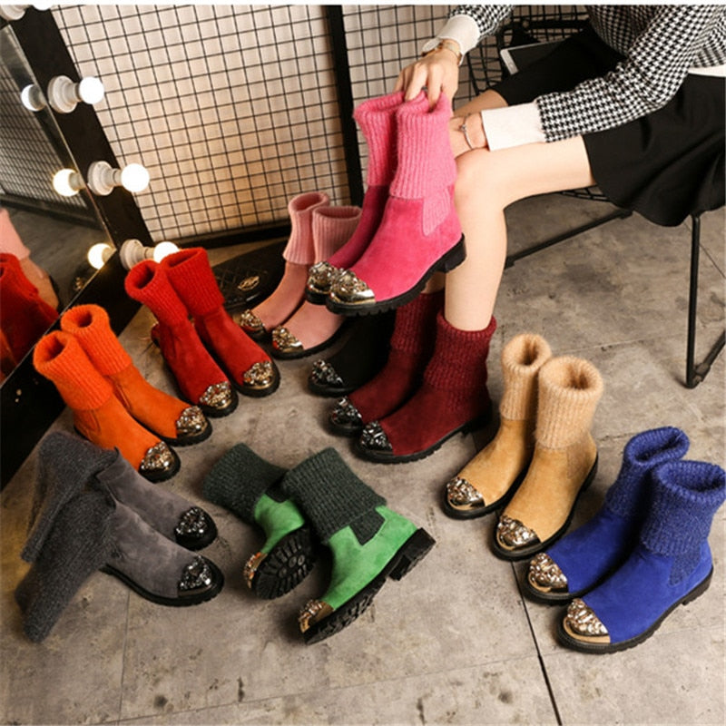 Hot Suede Leather Stretch knitting Women Winter Boots Metal Toe Crystal Embellished Sock Women Boots Shoes Woman - LiveTrendsX
