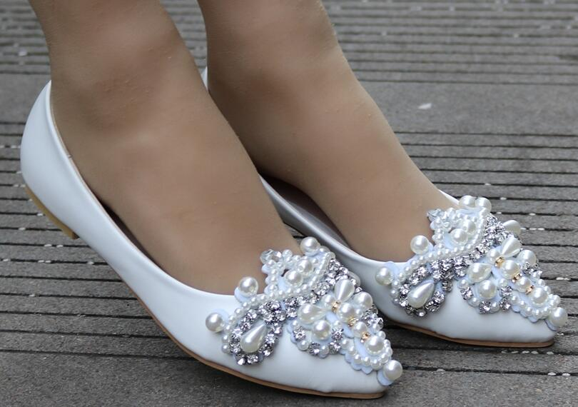 Women Bridal Wedding Shoes Crystal Rhinestone Thin High Heels Pointed Toe Evening Pumps Plus Size - LiveTrendsX