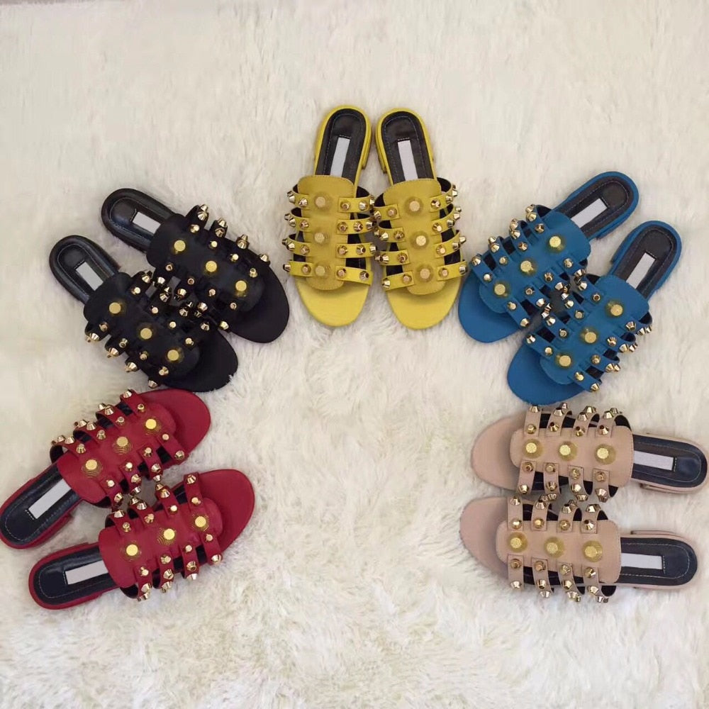 Fashion Golden Studs Ladies Slip On Slippers Blue Smooth Leather Women Leather Straps Flat Sandals Summer Hot Dress Shoes