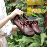 Original leather women's shoes suede leather retro comfortable soft sole shoes flat color matching casual shoes - LiveTrendsX