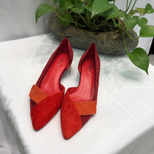 Load image into Gallery viewer, women spring new cow suede red stitching orange red leather high heel shoes shallow mouth women's shoes - LiveTrendsX
