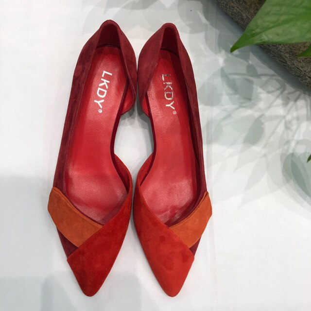 women spring new cow suede red stitching orange red leather high heel shoes shallow mouth women's shoes - LiveTrendsX