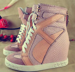 Pink Wedge Sneakers For Women Height Increasing Shoes Woman Lace Up Women Casual Shoes Women Hidden Heels Platform Shoes - LiveTrendsX