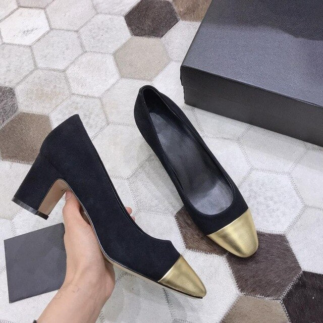 Women's Shoes Genuine Leather Shoes For Woman Low Heels Pumps Slip On Round Toe Thick Square Heels Plus Size 34-42 - LiveTrendsX