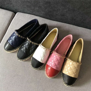 New Women Espadrilles Shoes Flat Genuine Leather Shoes Woman Casual Loafers Top Quality Spring Autumn Big Size 35-41
