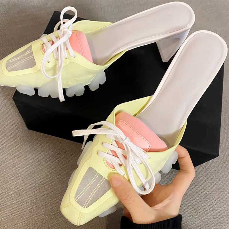 Women Slippers Crocodile Head PVC Sole Lace-Up Mules Shoes Women Sport Slides 2020 Summer Celebrity Ladies Footwear Sandals