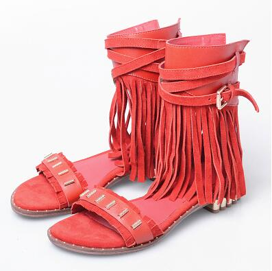 Red Suede Women Gladiator Sandals Studded Beach Flats Summer Shoes Fringe Ladies Grey Ankle Strap Sandalias Bohemian Espadrilles