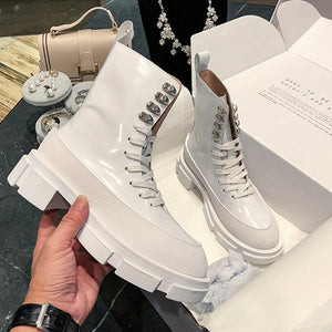 Popular Designer INS Fashion Boots Women White Cow Leather Motorcycle Boots Chunky Sole Mid-calf Long Boots