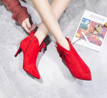 Load image into Gallery viewer, The new 9cm pointy bride shoes for autumn 2019 are fashionable sexy goddess temperament side zipper ankle boots for women - LiveTrendsX