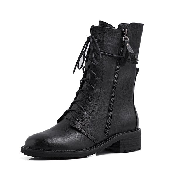 Solid Boots Lace Up Comfortable Round Toe Handmade Zipper Square Heel New Shoes Short Plush Fashion Ankle Boots