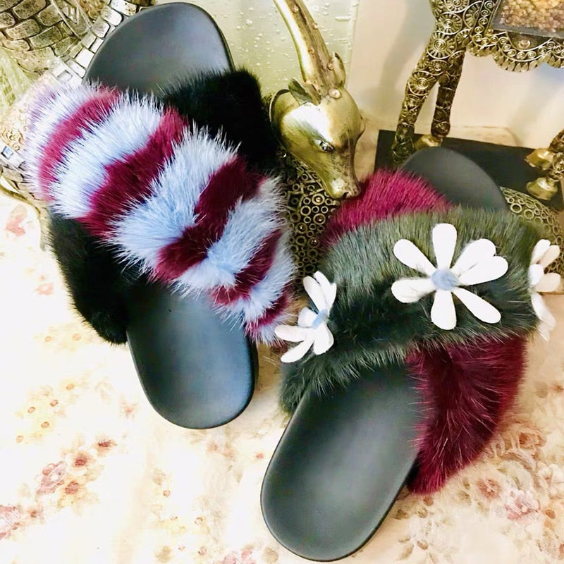 Mink Slippers Women Spring Slides Warm Flat Shoes Women Luxury Outdoor Chanclas Mujer Chic Ladies Shoes Casual Sapato Feminino - LiveTrendsX