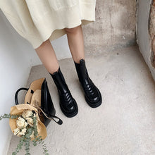 Load image into Gallery viewer, Sewing Leather Ankle Boots Round Toe Black Leather Chelsea Boots Flat Platform Comfort Shoes Women - LiveTrendsX