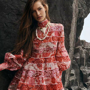 Red Lantern Long Sleeve A Line Dress Stand Neck High Waisted Women Club Flower Print Mini Dress 2020 New Women Vacation Clothing - LiveTrendsX
