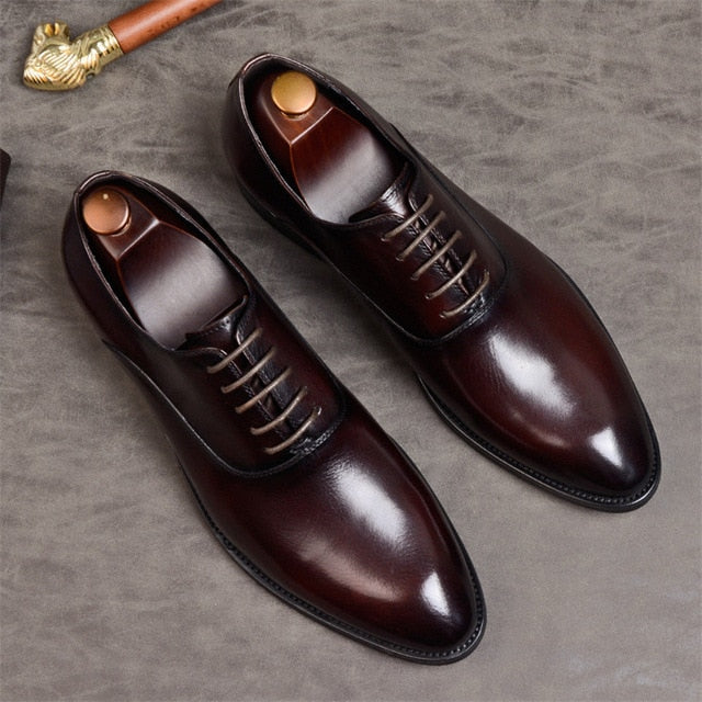 Mens Formal Shoes Genuine Leather Oxford Shoes For Men Italian 2020 Dress Shoes Wedding Laces Leather Business Shoes - LiveTrendsX