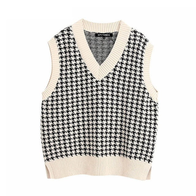 Women 2020 Fashion Oversized Knitted Vest Sweater V Neck Sleeveless Side Vents Loose Female Waistcoat Chic Tops