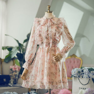 Floral Print Bow Sweet Ruffle Dress Chiffon Women Casual Lace Up Elegant Mini Dress Waisted Buttons Fairy Maiden Summer Vestidos - LiveTrendsX