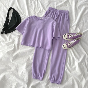 Casual Student Two-piece Suit Summer Women Tracksuit Fashion Short Top+High Waist Harem Ankle Length Pant For Height Under 165cm - LiveTrendsX