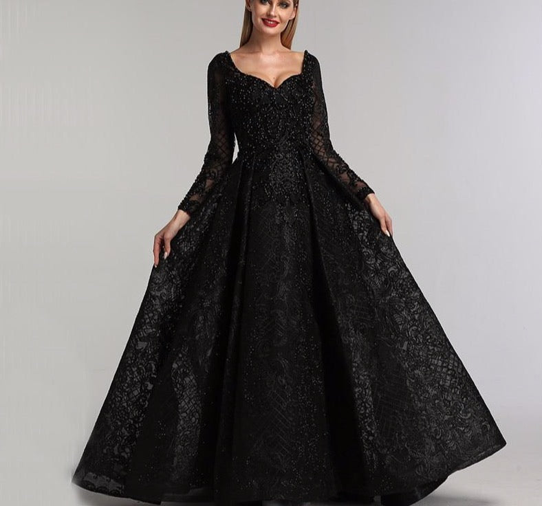 Grey Black Long Sleeves V-Neck Evening Dresses 2020 Real Photo Luxury Sexy Diamond Dubai Formal Dress