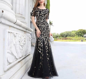 Formal Evening Dresses 2020 Ever Pretty New Mermaid O Neck Short Sleeve Lace Appliques Tulle Long Party Gowns - LiveTrendsX
