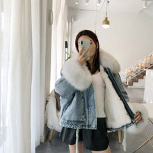 Load image into Gallery viewer, winter velvet thick denim jacket female big fur collar Korean locomotive lamb coat female student short coat XXXL 4XL - LiveTrendsX