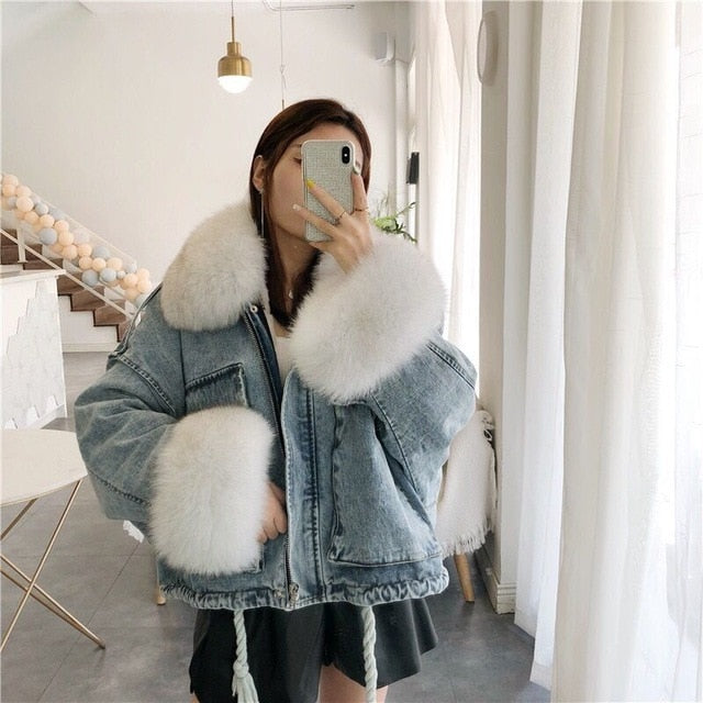 winter velvet thick denim jacket female big fur collar Korean locomotive lamb coat female student short coat XXXL 4XL - LiveTrendsX